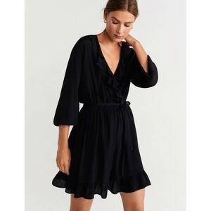MANGO Black Ruffled Mini Dress